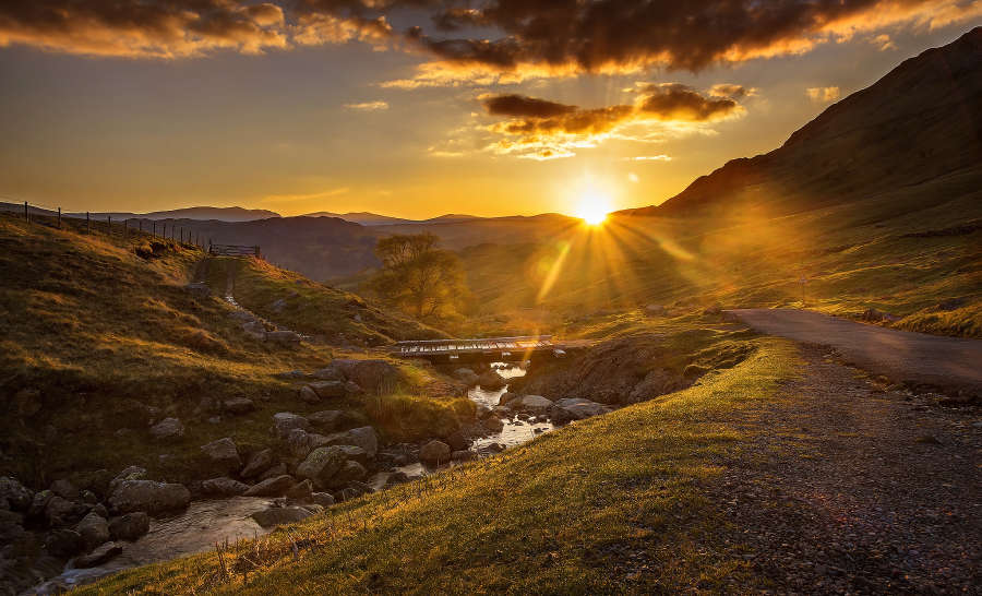 Sunset over Honister Pass. Cumbria.