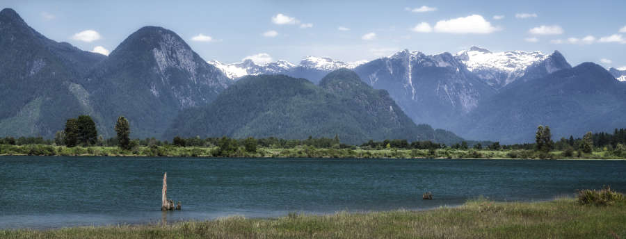 Pitt River and mountains