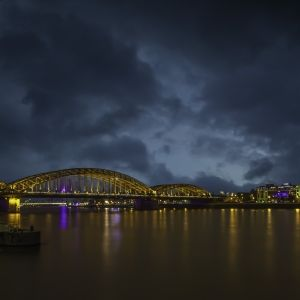 Bridge in Cologne at night light