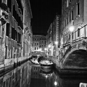 Night Venice in the reflection