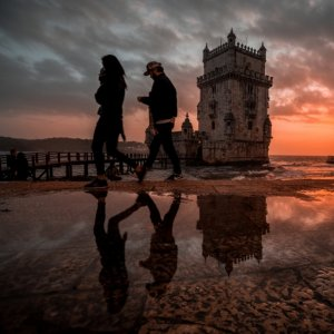 Walking along the tower of Belém - Lisbon