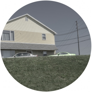 A Yellow House and a Lime Green Car - Rondel