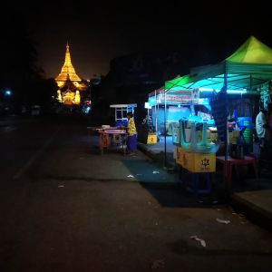 Golden Pagoda And Yangon Night.