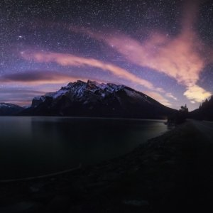 Lake Minnewanka Night Pano